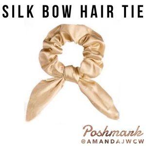 Silk Bow Hair Tie Scrunchie - Light Gold